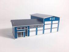 1:160 N Scale Outland Bus Repair Garage Building Model Bus Repair Shop Blue