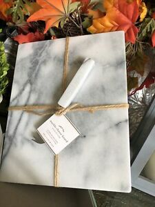 "New Pottery Barn Smooth Edge Marble Cheese Cutting Board & Cheese Knife 11""x 9"""