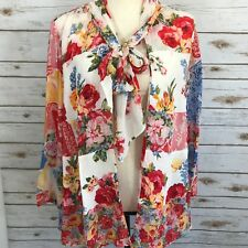 VTG 80s Carole Little CL Blouse 4 / Lage Open Front Tie Neck Rayo Floral USA