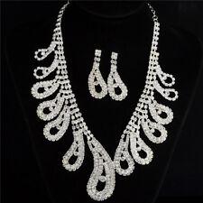 Rhinestones Diamante Crystal Pearl Wedding Party Bridal Necklace Earrings Set UK
