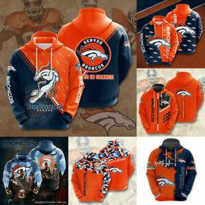 Denver Broncos Hoodies Men's Football Hooded Sweatshirts Casual Jacket Pullover