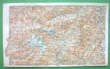 1896 Map Original Baedeker - Italy Alps Parco Adamello Cima Tosa Edolo