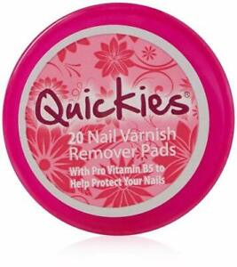 Quickies Nail Varnish Remover 20 Pads- with hydrating vitamin B5 nourishes nails