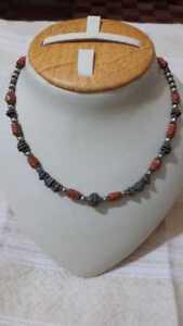 vintege Moroccan-Handmade-Berber-Artisan-Coral and silver Necklace