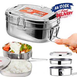 Double layer Container Bento Food Stainless Steel Picnic Lunch Box Case
