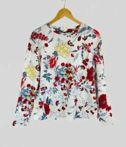 M&S Marks Spencer Women Ladies Ivory Mix Floral Relaxed Fit Long Sleeve Top Tee