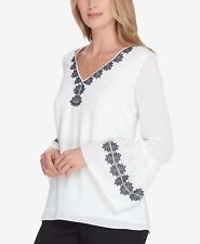 $160 TAHARI ASL WOMENS WHITE V-NECK BELL SLEEVE EMBROIDERED BLOUSE TOP SIZE PXS