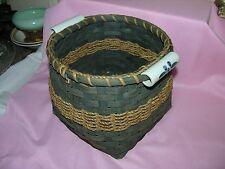Unique Vintage Bamboo Basket with Blue Porcelain Handle