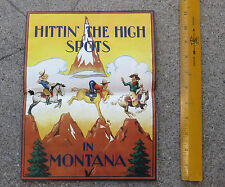 Original 1938 Hittin' the High Spots in Montana  Picture Map Irvin Shorty Slope