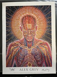 "Alex Grey ""Prayer"" Signed 18x24 Poster Tool Artist Visionary Art"