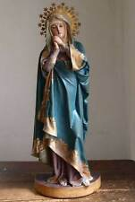 Our Lady of the Seven Sorrows Virgin Mary Glass Eye Wooden Antique Statue/465