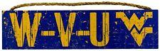 """NCAA West Virginia Mountaineers 16"""" x 4"""" """"W-V-U"""" Slogan Wood Sign"""