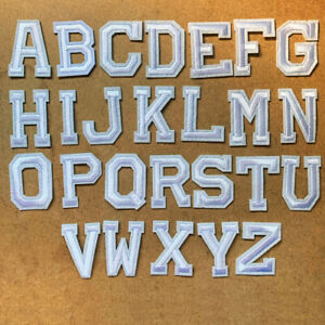 1pc Letter White Embroidered Cloth Iron On Patch Appliqué Alphabet word #1373