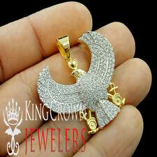 Mens 10K Yellow Gold Silver Pendant Egyptian Eagle God Simu Diamond Pave Charm