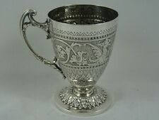 More details for pretty victorian silver christening mug, 1890, 119gm