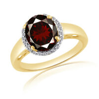 2.64 Ct Oval Cut Red Garnet & White Topaz 18K Gold Over Silver Engagement Ring