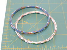 Set of 2 Pair Cloisonne Bangle Bracelets White Blue Enamel Flowers  J 33