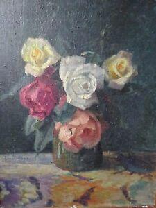 Tableau ancien huile sur toile NAture morte Henri Emile ROGEROL a restaurer