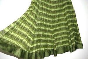 GREEN SILK & LINEN BLEND STRIPED FLARED SKIRT SIZE 12