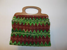 Vintage Large Rust/Green Carpet Bag Tote/ Purse, Wooden Handles, Gemetric Design
