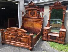 MUSEUM QUALITY INLAID BURLED WALNUT MARBLE TOP 2 PC. BEDROOM SET, ATTR. HERTER