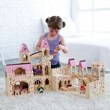 Castle Playset Princess Wooden Dollhouse Folding Wood Play Set Toy Assembled NEW
