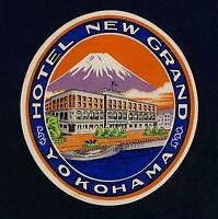 Hotel New Grand YOKOHAMA Nippon Japan Sailing* Old Luggage Label Kofferaufkleber
