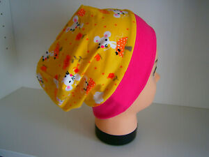 ♥Neu-Handmade♥Mäuschen♥Beanie♥Mütze♥Kindermütze♥KU 38-58♥Jersey♥Mädchen♥