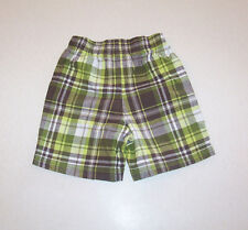 Infant Boy's Carter's Green, Brown & White Plaid Cotton Shorts 24 Months