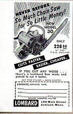 1953 Print Ad Lombard New Model 30 Chain Saws Ashland,Massachusetts