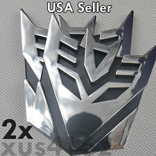 2 x 3D Chrome 3 INCH Decepticon Transformers Emblem Badge Decal Car Stickers