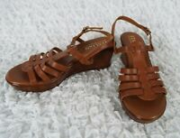 EUC Italian Shoemakers Brown Leather Wedge Heels Sandals Size 9 M