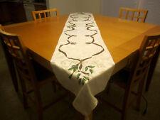 Lenox Holiday Ribbons & Holly Linen Tablecloth Runner 8' long