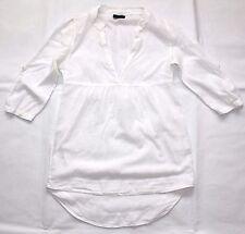 White Soft Cotton VERO MODA Loose Bohemian Ladies Blouse Top Tunic Size XS S