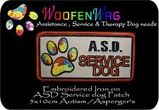 assistance dog patch K9 Embroidered A.S.D Autism-Asperger's SERVICE DOG Patch