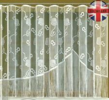 """String curtains ready to hang up WHITE (160x300cm) 63""""x118"""" with curtain tape"""
