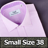 Men's Purple Formal Business Dress Shirt Small Size 38 Egyptian Cotton Luxury GQ
