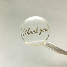 50 Round transparent Gold Thank you Labels stickers self-adhesive Packing Labels
