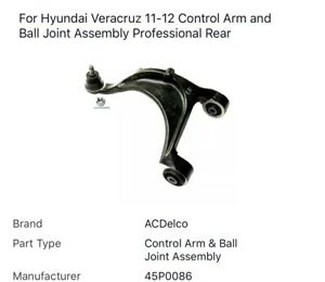 For Hyundai Veracruz 11-12 Control Arm and Ball Joint Assembly Professional Rear
