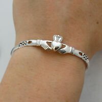 Irish Claddagh Celtic Knot Bangle Bracelet - 925 Sterling Silver - Love Gift NEW