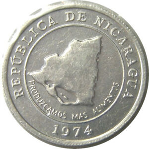 elf Nicaragua 10 Centavos 1974   FAO  Map