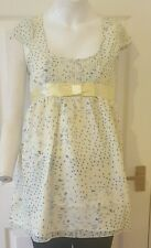 Ladies/womens  pastel YELLOW and BLUE FLORAL print summer DRESS/top Size 12/ L