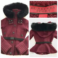 Burberry Jacket Peplum Thick Wool Knit Burgundy Fur Black XS | BURBERRY SPORT