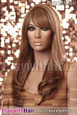 Classic Silky Layered Long Human Hair Wig 3Tone Brown
