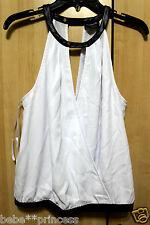 NWT bebe black white double v wrap cutout neck contrast dress top XL 12 party
