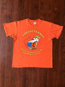 Vintage 1997 Violent Femmes T-Shirt Size XL Punk Band Orange Signed 90s