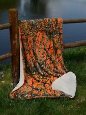 "ORANGE CAMO WOODS Camouflage Luxury Light Faux Fur Soft Sherpa Blanket 50"" x 70"""