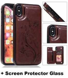 iPhone Flower Leather Magnetic Wallet Card Holder Case 12 11 Pro Max XS X 8 7 6