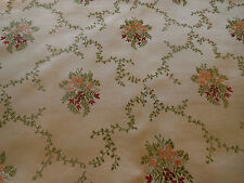 Antique French Satin Brocade Fabric~Apricot Maroon Green on Sand Beige