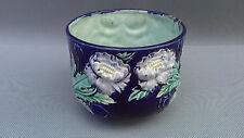 Ancien cache pot barbotine décor fleurs art populaire vintage 458 french antique